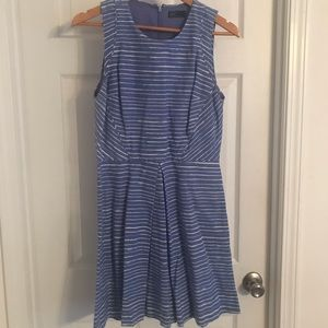 Dress with blue and white stripes